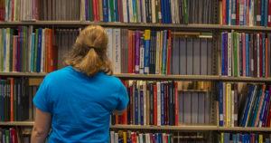 student in Bracken Library