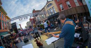 crowd in Downtown Muncie