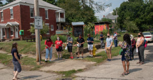 Urban planning students working in the community