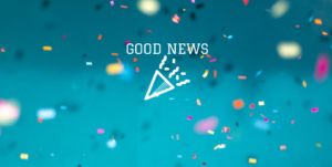 blue background with confetti saying Good News@