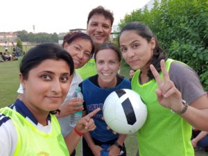 Photo of women's soccer coaches at an Indian soccer workshop.