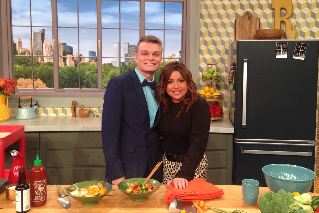 Nick Zimmerman on set with Rachael Ray