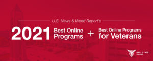 A graphic promoting Ball State Online's rankings from U.S. News and World Report