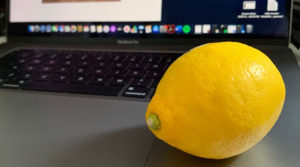 Lemon on laptop