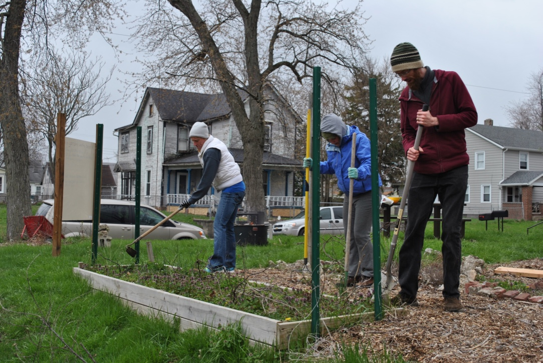 Volunteers work in gardens as part of the Community Service day 2019