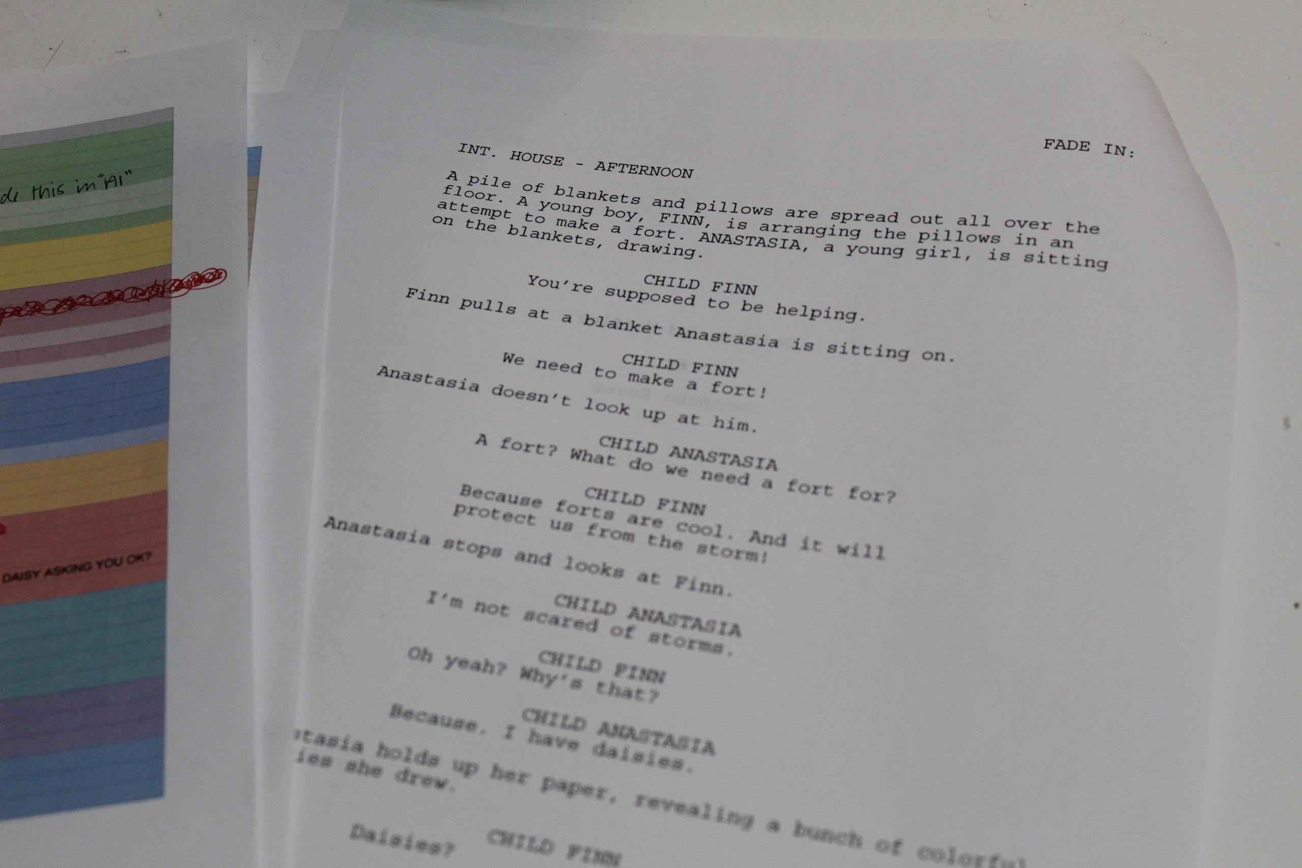 Close up on film script
