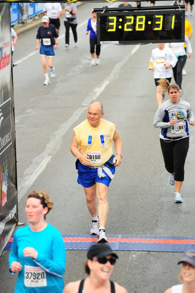 David Sumner crossing finish line