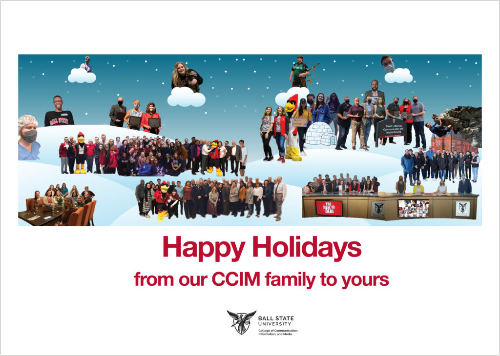 Holiday card featuring CCIM students, alumni, faculty and staff on a snowy background