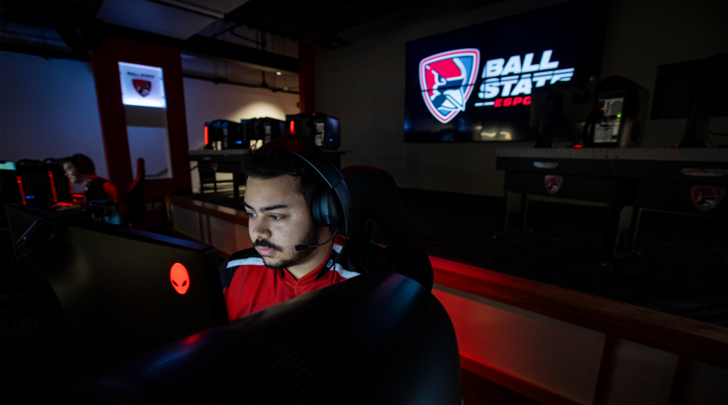 Esports player in front of his computer
