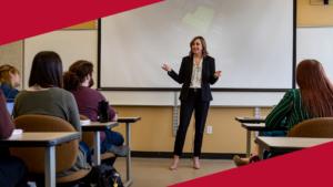 Kendra Mann teaching Communication Studies class
