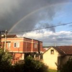 The view of a sky and rainbow from Julia's window in Kosovo.
