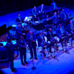 Jazz at Lincoln Center Orchestra with Wynton Marsalis performing on the Sursa Hall stage.