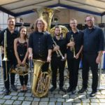 Posed photo of student brass quintet