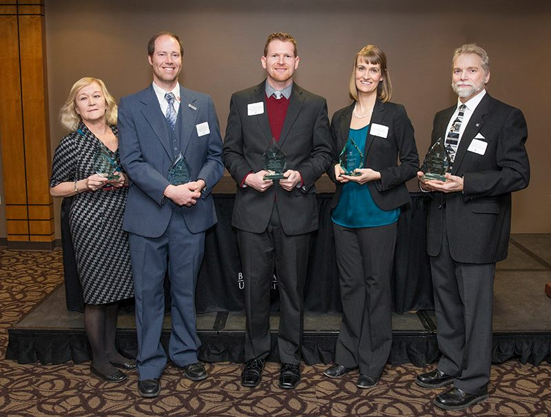 Assistant Professor Andrea Wolfe (second from right) was the recipient of an Immersive Learning Award. (Photo courtesy of Ball State University)