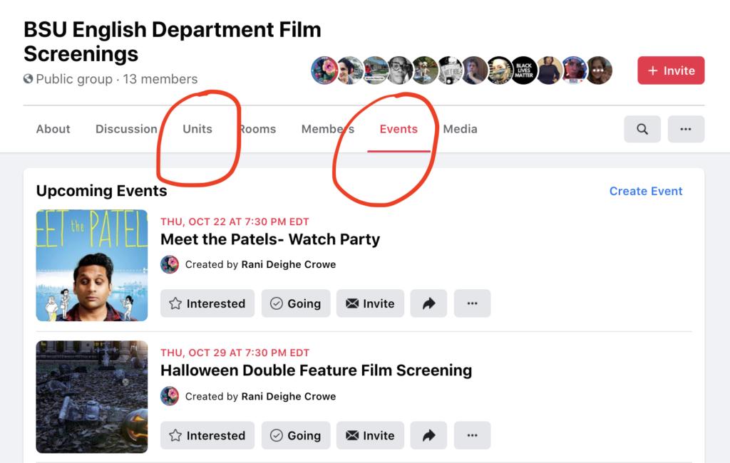 a screenshot of the Film Screenings FB group