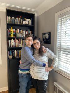 Lauren Lutz, pregnant, with her husband.