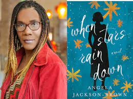 A Black woman with long hair and glasses and a red shirt and the cover of her book, blue with gold stars